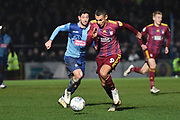 Ipswich Town striker Kayden Jackson (9) sprints forward with the ball  under pressure from Wycombe Wanderers defender Joe Jacobson (3) during the EFL Sky Bet League 1 match between Wycombe Wanderers and Ipswich Town at Adams Park, High Wycombe, England on 1 January 2020.