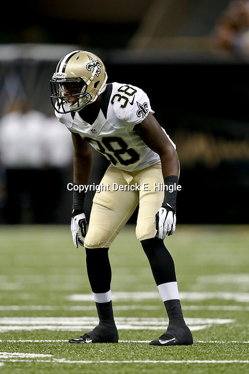 Aug 9, 2013; New Orleans, LA, USA; New Orleans Saints cornerback Rod Sweeting (38) against the Kansas City Chiefs during a preseason game at the Mercedes-Benz Superdome. The Saints defeated the Chiefs 17-13. Mandatory Credit: Derick E. Hingle-USA TODAY Sports