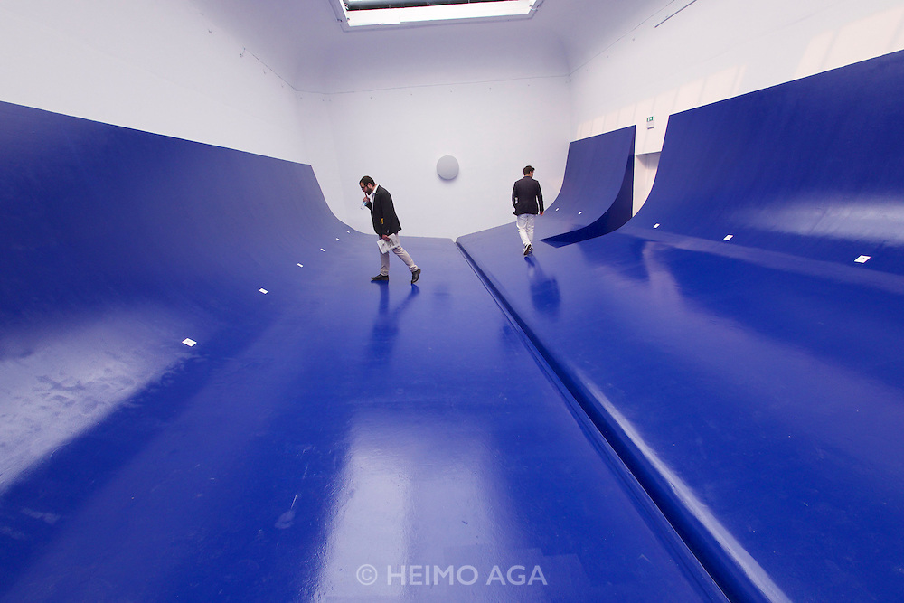 """Venice, Italy - 15th Architecture Biennale 2016, """"Reporting from the Front"""".<br /> Giardini.<br /> Serbia Pavilion. HEROIC: Free Shipping."""