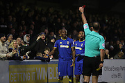 Referee C Boyeson sends of AFC Wimbledon striker Tom Elliott (9) AFC Wimbledon striker Tom Elliott (9)  during the EFL Sky Bet League 1 match between AFC Wimbledon and Charlton Athletic at the Cherry Red Records Stadium, Kingston, England on 11 February 2017. Photo by Stuart Butcher.