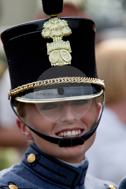 A female graduating cadet during the Long Grey Line graduation parade May 8, 2009 at the Citadel in Charleston, SC. This graduating marks the 10-year anniversary of the first female to graduate from The Citadel, Nancy Mace.  The Citadel was founded in 1842.