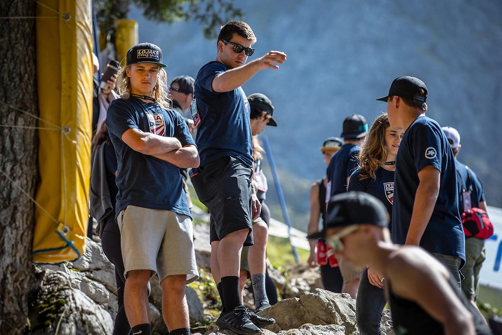 Team USA on Downhill track walkat the 2018 UCI MTB World Championships - Lenzerheide, Switzerland