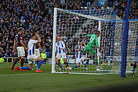Football - 2018 / 2019 Premier League - Brighton and Hove Albion vs. Newcastle United<br /> <br /> Lewis Dunk and Shane Duffy hold there heads as Glenn Murray of Brighton heads just over the bar with the last attack in normal time at The Amex Stadium Brighton <br /> <br /> COLORSPORT/SHAUN BOGGUST
