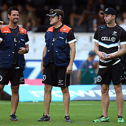 DURBAN, SOUTH AFRICA - MARCH 26: DR Alan Kourie with Deane Macquet (Physiotherapist) and  Callie Hugo (Physiotherapist) during the Super Rugby match between Cell C Sharks and BNZ Crusaders at Growthpoint Kings Park on March 26, 2016 in Durban, South Africa. (Photo by Steve Haag)<br /> <br /> images for social media must have consent from Steve Haag