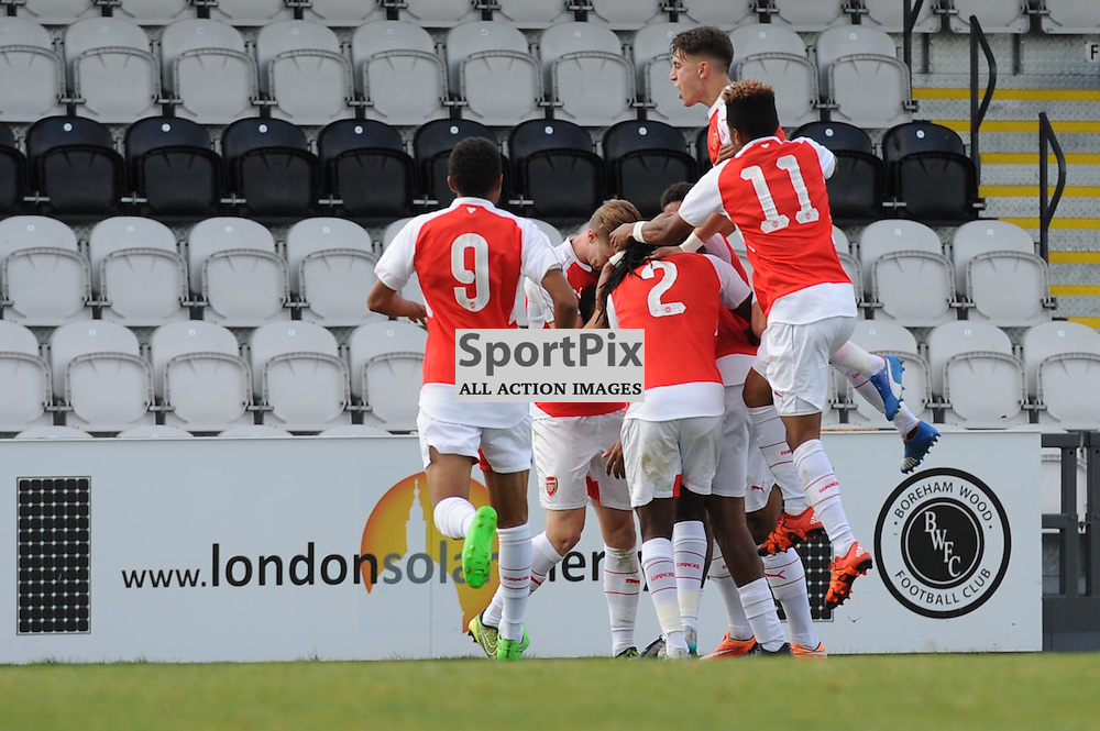 The Arsenal players celebrate Alex Iwobis first goal during the Arsenal u19 v Bayern Munich u19 match on Tuesday 20th October 2015 in the UEFA Youth League at Borehamwood