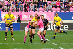 April 7, 2018 - Paris, France - Clermont Fullback NICK ABENDANON in action during the French rugby championship Top 14 match between Stade Francais and Clermont at Jean Bouin Stadium in Paris - France..Stade Francais won 50-13 (Credit Image: © Pierre Stevenin via ZUMA Wire)