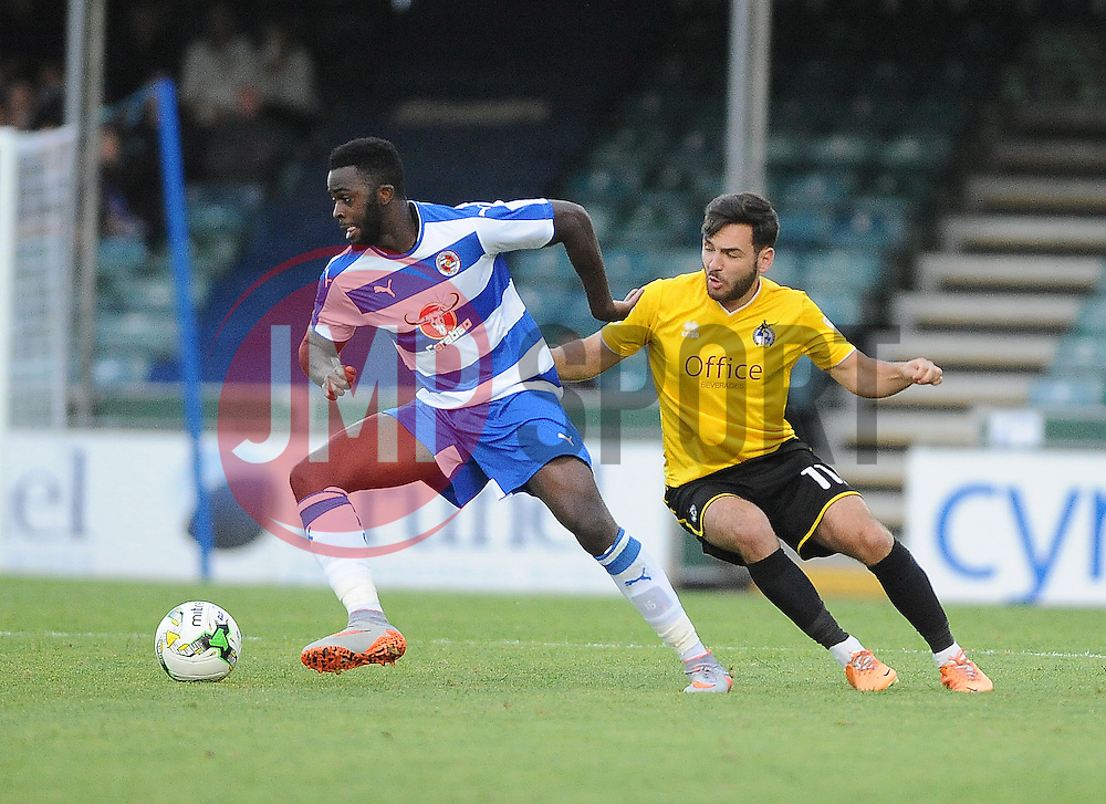 Reading's Aaron Tshibola is challenged by Jake Gosling of Bristol Rovers - Mandatory by-line: Neil Brookman/JMP - 21/07/2015 - SPORT - FOOTBALL - Bristol,England - Memorial Stadium - Bristol Rovers v Reading - Pre-Season Friendly