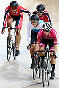 Corbin Strong, Campbell Stewart and Hugo Jones during the 2019 Vantage Elite and U19 Track Cycling National Championships at the Avantidrome in Cambridge, New Zealand on Sunday, 10 February 2019. ( Mandatory Photo Credit: Dianne Manson )