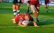 Aaron Murphy of Huddersfield Giants scores the try against  Hull FC during the Betfred Super League match at the John Smiths Stadium, Huddersfield<br /> Picture by Stephen Gaunt/Focus Images Ltd +447904 833202<br /> 05/07/2018