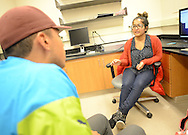 Mattheus DeSouza (cq), 20 of Union, New Jersey and Aleena Andrews, 21 of Egg Harbor, New Jersey chat in a lab as part of the PERSIST program Thursday, November 10, 2016 at the College of New Jersey Science Building in Ewing, Pennsylvania.  The College of New Jersey has an NSF grant-funded program, PERSIST, to help low-income biology and chemistry students by giving them scholarships, peer and faculty mentors, mandatory weekly tutoring, additional freshman orientation, and workshops throughout the semester. (WILLIAM THOMAS CAIN / For The Philadelphia Inquirer)