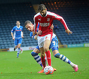 Jordan Turnbull, Jim McNulty during the The FA Cup match between Rochdale and Swindon Town at Spotland, Rochdale, England on 7 November 2015. Photo by Daniel Youngs.