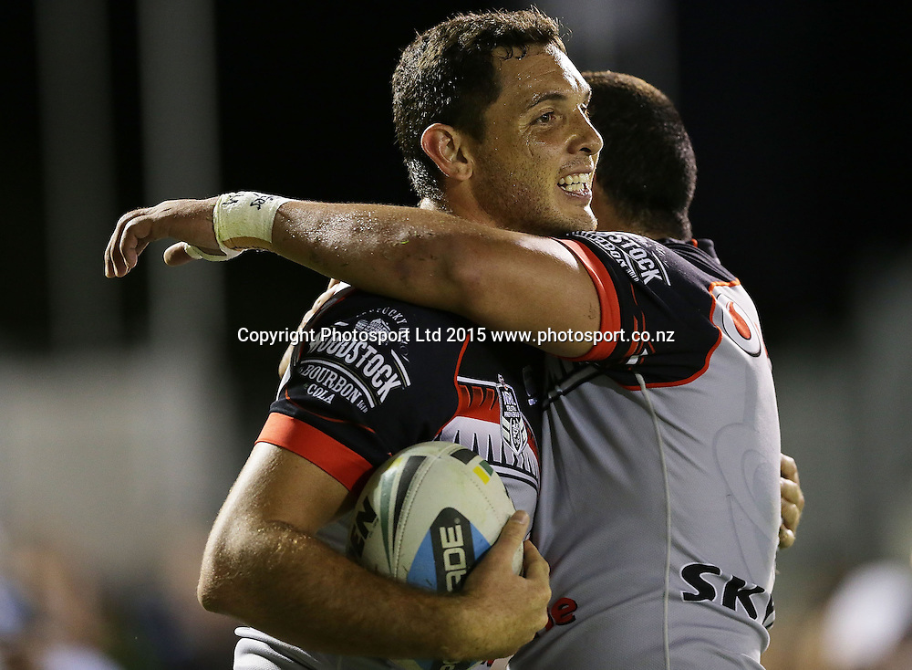 SYDNEY, AUSTRALIA - MAY 09:  Jonathan Wright of the Warriors celebrates scoring a try with team mates during the NRL Rugby League match between the Cronulla Sharks and the Vodafone Warriors at Remondis Stadium, Sydney, Australia. Saturday 9 May 2015. Copyright Photo: Mark Metcalfe / www.Photosport.co.nz  *** Local Caption *** Jonathan Wright