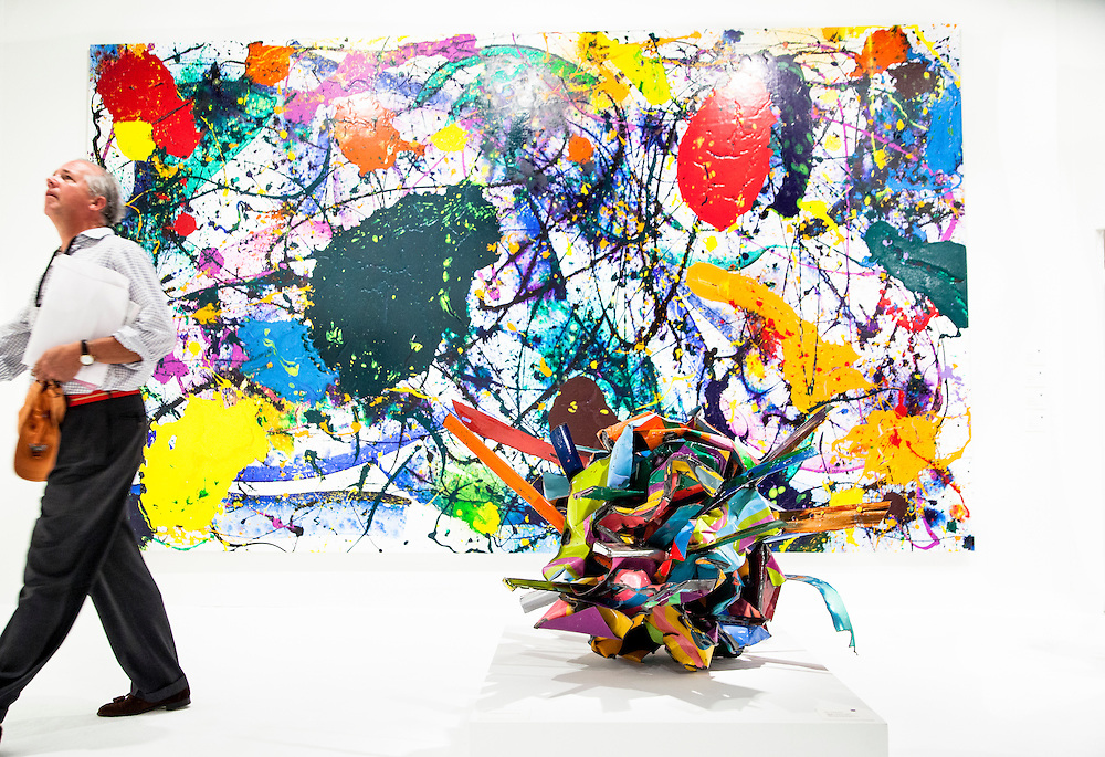 "Painting ""Untitled"" by Sam Francis; and the painted chrome steel sculpture  ""Bamboozled Clarity"" is by John Chamberlain"