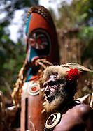 Vanuatu, Malampa Province, Ambrym Island, chief etul on the rom dance area