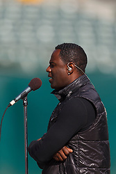 Oct 2, 2011; Oakland, CA, USA; Recording artist Brian McKnight practices the national anthem before the game between the Oakland Raiders and the New England Patriots at O.co Coliseum. New England defeated Oakland 31-19. Mandatory Credit: Jason O. Watson-US PRESSWIRE
