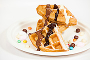 Waffle, Ice Cream, sweets, chocolate and Cream snack