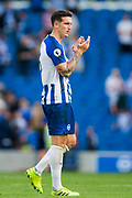 Lewis Dunk (Capt) (Brighton) thanking the Brighton & Hove Albion FC supporters following the Premier League match between Brighton and Hove Albion and Burnley at the American Express Community Stadium, Brighton and Hove, England on 14 September 2019.