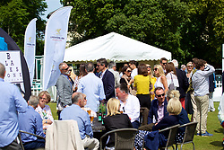 LIVERPOOL, ENGLAND - Saturday, June 23, 2018: Corporate guests outside the hospitality tent during day three of the Williams BMW Liverpool International Tennis Tournament 2018 at Aigburth Cricket Club. (Pic by Paul Greenwood/Propaganda)