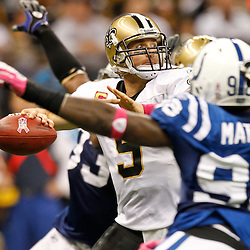 October 23, 2011; New Orleans, LA, USA; New Orleans Saints quarterback Drew Brees (9) throws against the Indianapolis Colts during the second quarter of a game at the Mercedes-Benz Superdome. Mandatory Credit: Derick E. Hingle-US PRESSWIRE / © Derick E. Hingle 2011