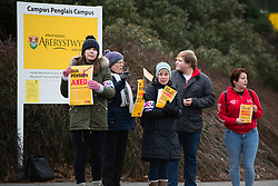 © London News Pictures. 22/02/2018. Aberystwyth, UK.<br /> Members of the UCU (University andCollege Union) on a picket line outside the campus to Aberystwyth University on the first day of a UK wide series of strikes called by the union in protest at cuts to their members long term guaranteed pension benefits and rights.. Photo credit: Keith Morris/LNP