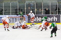 13.10.2013, Hala Tivoli, Ljubljana, SLO, EBEL, HDD Telemach Olimpija Ljubljana vs HC Bolzano Südtirol, 21st Game Day, in picture Gregor Koblar (HDD Telemach Olimpija, #20) scores a goal against Günther Hell (HC Bolzano Südtirol, #73) during the Erste Bank Icehockey League 21st Game Day match between HDD Telemach Olimpija Ljubljana and HC Bolzano Südtirol at the Hala Tivoli, Ljubljana, Slovenia on 2013/10/13. (Photo By Matic Klansek Velej / Sportida)