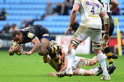 Wasps centre Gaby Lovobalavu  wriggles from a tackle wduring the Aviva Premiership match between Wasps and Exeter Chiefs at the Ricoh Arena, Coventry, England on 18 February 2018. Picture by Dennis Goodwin.