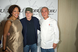 Left to right, GRACE HIGHTOWER, ROBERT DE NIRO and NOBU MATSUHISAat a party to celebrate the 10th anniversary of Nobu Berkeley Street held on 5th November 2015.
