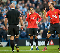 MANCHESTER, ENGLAND - Sunday, November 30, 2008: Manchester United's Christian Ronaldo is shown the red card by referee Howard Webb and sent off against Manchester City during the Premiership match at the City of Manchester Stadium. (Photo by David Rawcliffe/Propaganda)