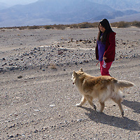 Marlee and her dog Batman go for a walk in the valley.  Marlee is one of only three students living on Timbisha Shoshone lands.
