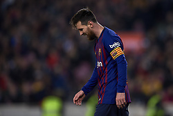 February 6, 2019 - Barcelona, Barcelona, Spain - Lionel Messi of Barcelona  lament a failed occasion during the Spanish Cup (King's cup), first leg semi-final match between FC Barcelona and  Real Madrid at Camp Nou stadium on February 6, 2019 in Barcelona, Spain. (Credit Image: © Jose Breton/NurPhoto via ZUMA Press)