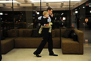 Sean Bielat, Republican candidate for the 4th District Congressional seat, walks with his son, Theodore, as he waits for results  at the Newton Crowne Plaza in the primary election, Sept. 6, 2012.