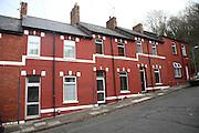 Red brick terraced housing, Agnes Street, Cogan, Penarth, Wales