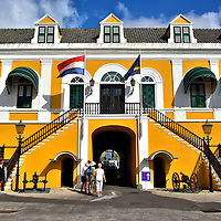 Fort Amsterdam Inner Courtyard in Punda, Eastside of Willemstad, Cura&ccedil;ao  <br />