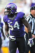 FORT WORTH, TX - SEPTEMBER 13:  Marcus Mallet #54 of the TCU Horned Frogs looks on against the Minnesota Golden Gophers on September 13, 2014 at Amon G. Carter Stadium in Fort Worth, Texas.  (Photo by Cooper Neill/Getty Images) *** Local Caption *** Marcus Mallet