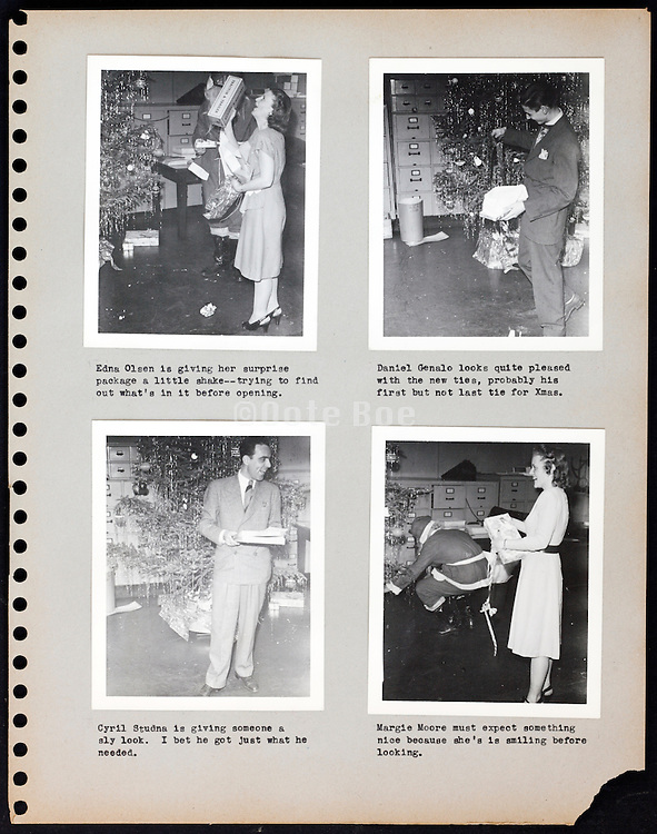 page from a photo album celebrating Christmas USA 1946
