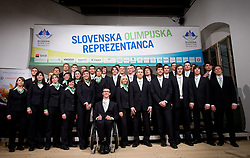 Group photo at official presentation of Slovenian Olympic team for Olympic games Vancouver 2010, on January 27, 2010, at Ljubljana's Castle, Slovenia. (Photo by Vid Ponikvar / Sportida)