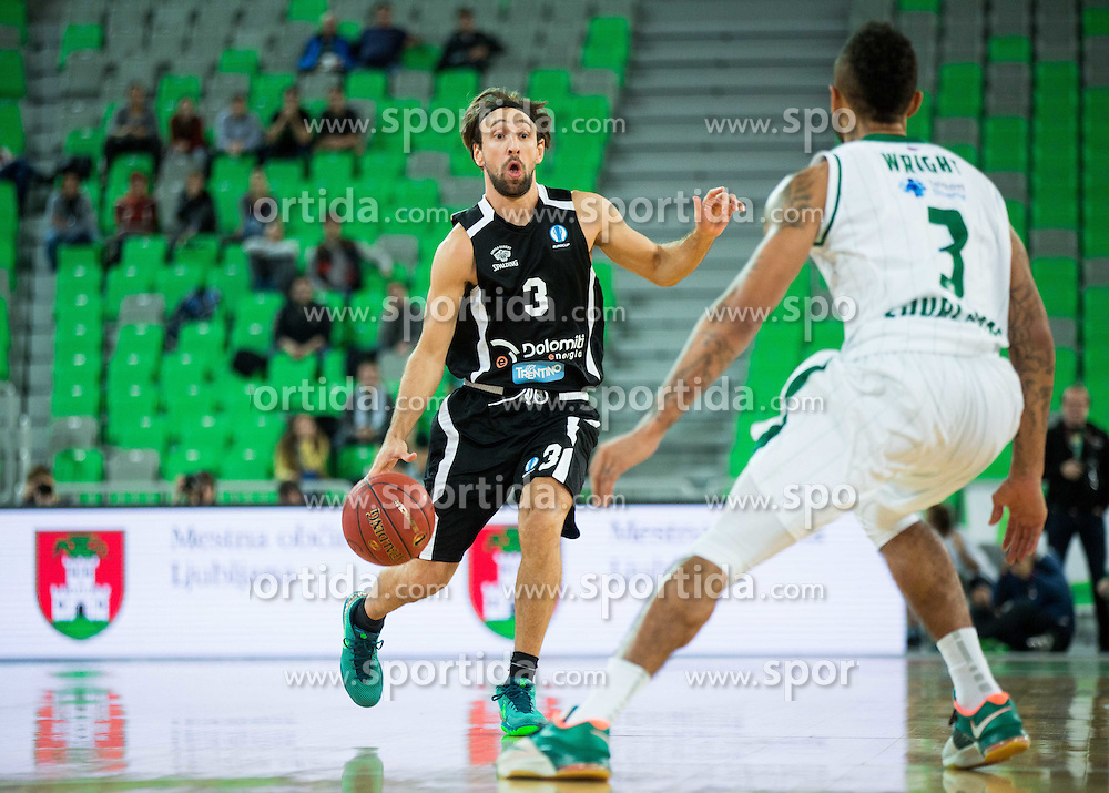 Giuseppe Poeta of Trento during basketball match between KK Union Olimpija Ljubljana and Dolomiti Energia Trento (ITA) in Round #1 of EuroCup 2015/16, on October 14, 2015 in Arena Stozice, Ljubljana, Slovenia. Photo by Vid Ponikvar / Sportida