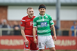 RHOSYMEDRE, WALES - Sunday, May 5, 2019: Connah's Quay Nomads' Jamie Insall (L) and The New Saints' Adrian Cieślewicz during the FAW JD Welsh Cup Final between Connah's Quay Nomads FC and The New Saints FC at The Rock. (Pic by David Rawcliffe/Propaganda)