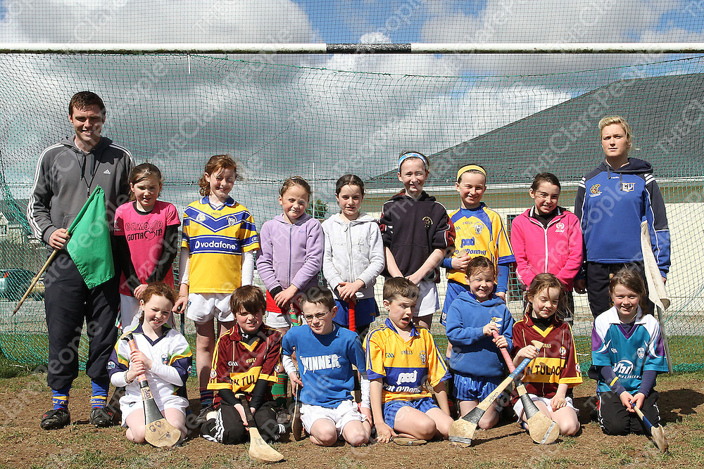 Coaches Andrew Fany &amp; Evelyn Glynn with their group at the Tulla Easter Camp. <br /> Photograph by Flann Howard