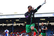 Bristol City striker, Jonathan Kodjia (22) celebrates during the Sky Bet Championship match between Blackburn Rovers and Bristol City at Ewood Park, Blackburn, England on 23 April 2016. Photo by Pete Burns.