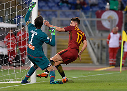 April 18, 2018 - Rome, Italy - Cengiz Under score goal 1-0 during the Italian Serie A football match between A.S. Roma and AC Genoa at the Olympic Stadium in Rome, on april 18, 2018. (Credit Image: © Silvia Lore/NurPhoto via ZUMA Press)