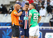 Referee Amaury Delerue of France warn the 2 captains, Thiago Silva of PSG and Mathieu Debuchy of Saint-Etienne, to calm down their teammates during the French Cup final football match between Paris Saint-Germain (PSG) and Saint-Etienne (ASSE) on Friday 24, 2020 at the Stade de France in Saint-Denis, near Paris, France - Photo Juan Soliz / ProSportsImages / DPPI