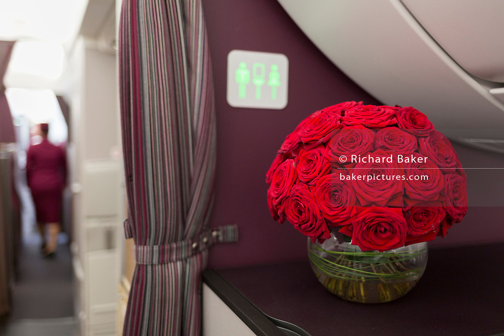 Business Class Interior of a Qatar Airways Airbus A350-1000 at the Farnborough Airshow, on 18th July 2018, in Farnborough, England.