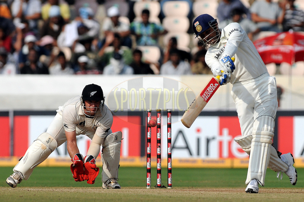 Virender Sehwag of India bats during day five of the second test match between India and New Zealand held at the Rajiv Gandhi International Cricket Stadium in Hyderabad on the 16th November 2010..Photo by Pal Pillai/BCCI/SPORTZPICS