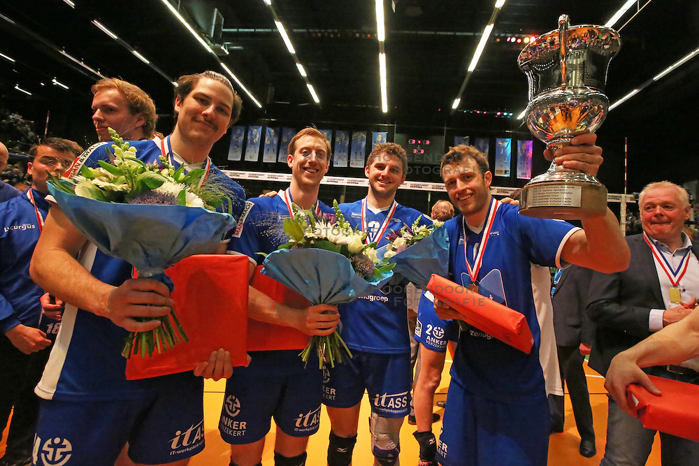 20160424 NED: Play off finale Abiant Lycurgus - Seesing Personeel Orion, Groningen<br />Jacob Guymer (14), Chris Voth (10), Steven Irvin (3), Jay Blankenau (9) of Abiant Lycurgus