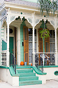 Traditional clapboard creole cottage home in Faubourg Marigny historic district  of New Orleans, Louisiana, USA