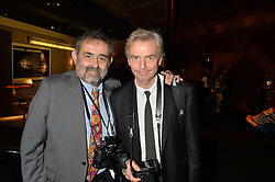 Left to right, ALAN DAVIDSON and DAFYDD JONES at the PAD London 2014 VIP evening held in the PAD Pavilion, Berkeley Square, London on 14th October 2014.
