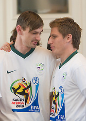 Milivoje Novakovic and Valter Birsa at Reception of Slovenian National football team at president of Republic of Slovenia dr. Danilo Turk after Slovenia qualified for the FIFA World Cup South Africa 2010, in President's place , Ljubljana, Slovenia.   (Photo by Vid Ponikvar / Sportida)