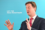 © Licensed to London News Pictures. 20/01/2014. London, UK. NICK CLEGG. Deputy Prime Minister Nick Clegg and Minister of State for Care and Support Norman Lambhold a conference on mental health 20 January 2014. It was attended by experts, clinicians, charities and users of mental health services. Photo credit : Stephen Simpson/LNP