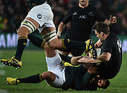 JOHANNESBURG, South Africa, 25 July 2015 : Ben Smith of the All Blacks is tackled by Bryan Habana of the Springboks during the Castle Lager Rugby Championship test match between SOUTH AFRICA and NEW ZEALAND at Emirates Airline Park in Johannesburg, South Africa on 25 July 2015. Bokke 20 - 27 All Blacks<br /> <br /> © Anton de Villiers / SASPA
